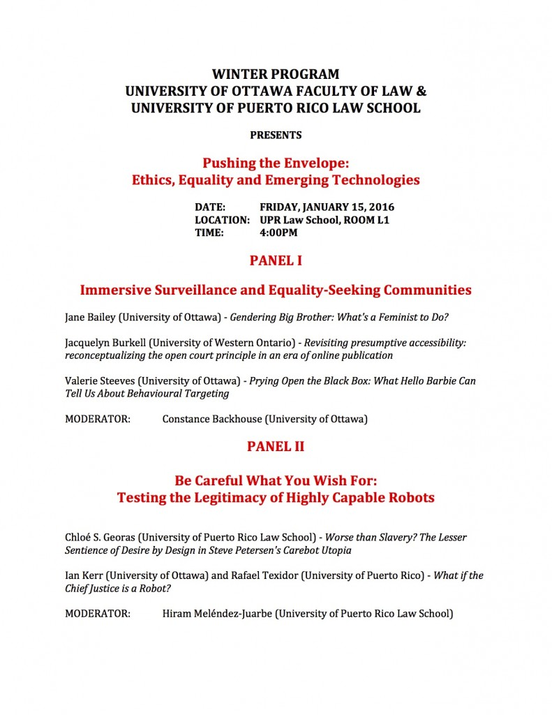 Ethics, Equality and Emerging Technologies Conference January 15, 2016